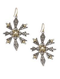 Alexis Bittar Pave Snowflake Drop Earrings in Metallic - Lyst