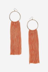 Topshop Orange Tassel Hoop Earrings in Orange | Lyst