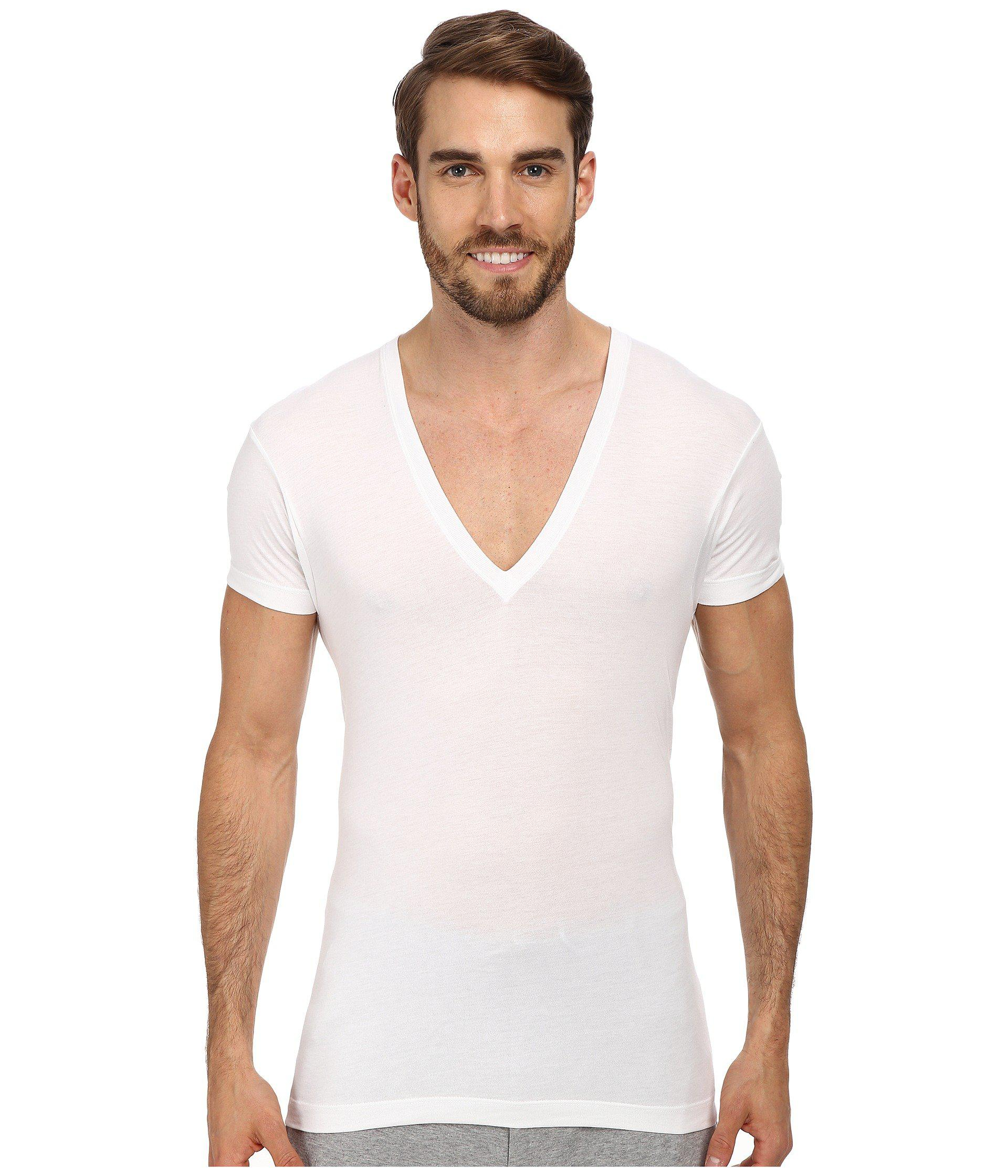 V Neck T Shirt Lyst - 2xist Pima Slim Fit Deep V-neck T-shirt In White