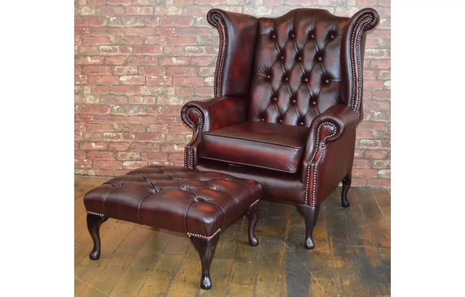 Queen Anne Chair Footstool Ox Blood Red Sale