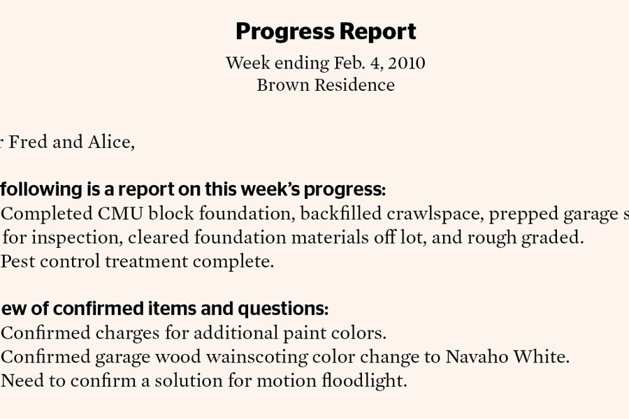 Progress Report for Clients Remodeling