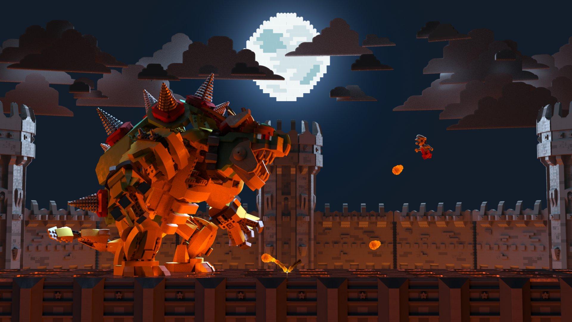 Mario 3d Wallpaper Simon Bau Mario Vs Bowser Lego Style