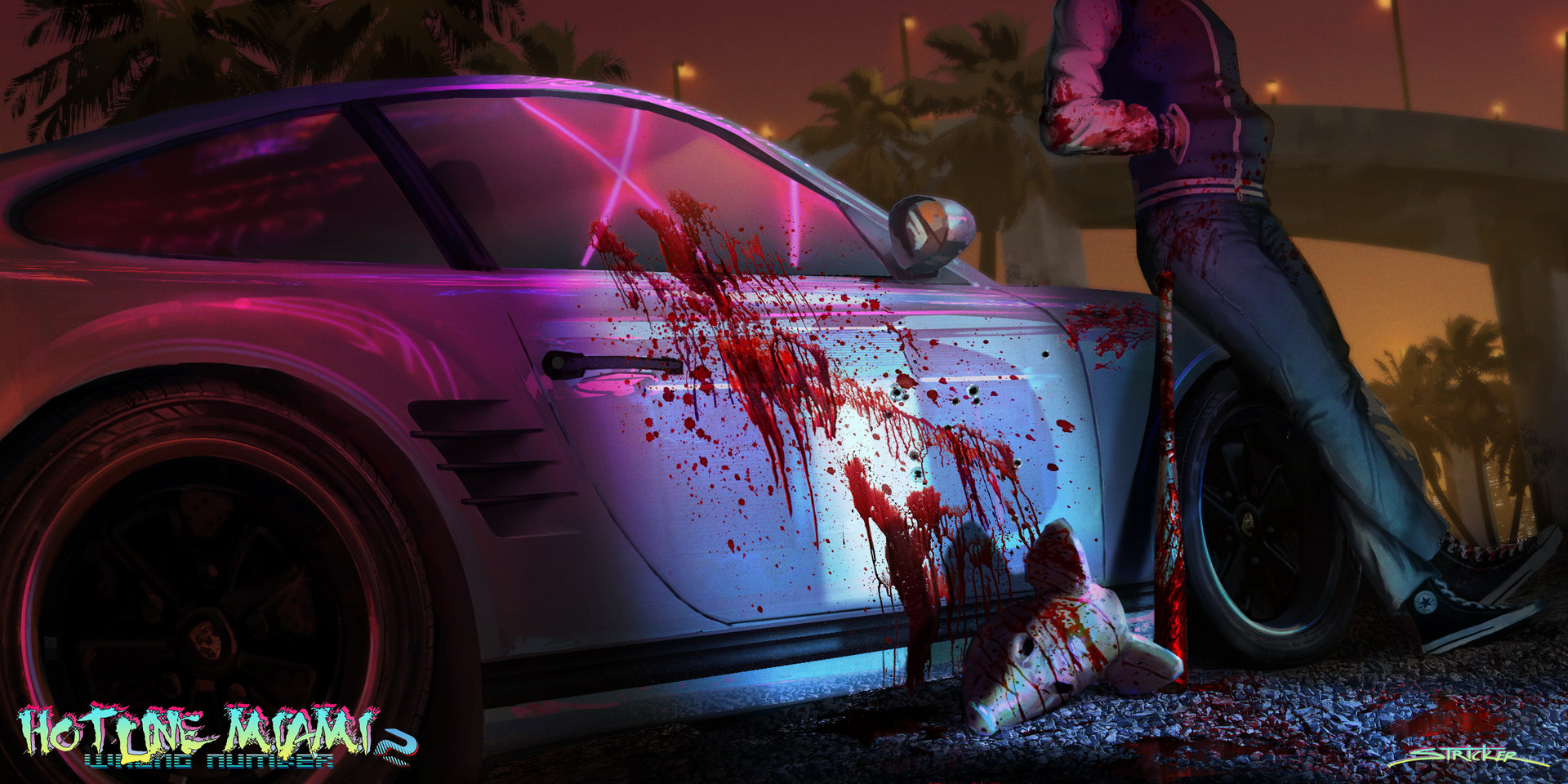 1920 Car Synthwave Wallpaper Artstation Hotline Miami 2 Wrong Number Fan Art Brandon