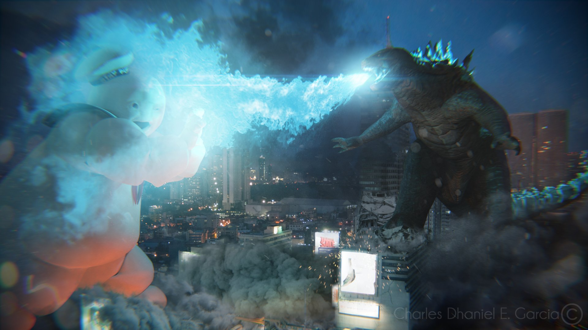 Godzilla Wallpaper Hd 1920x1080 Artstation Godzilla Vs Stay Puft Marshmallow Man