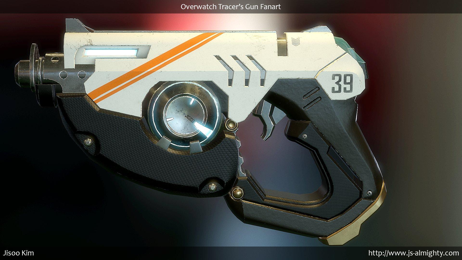 Pistol 3d Wallpaper Jisoo Kim Overwatch Tracer S Gun