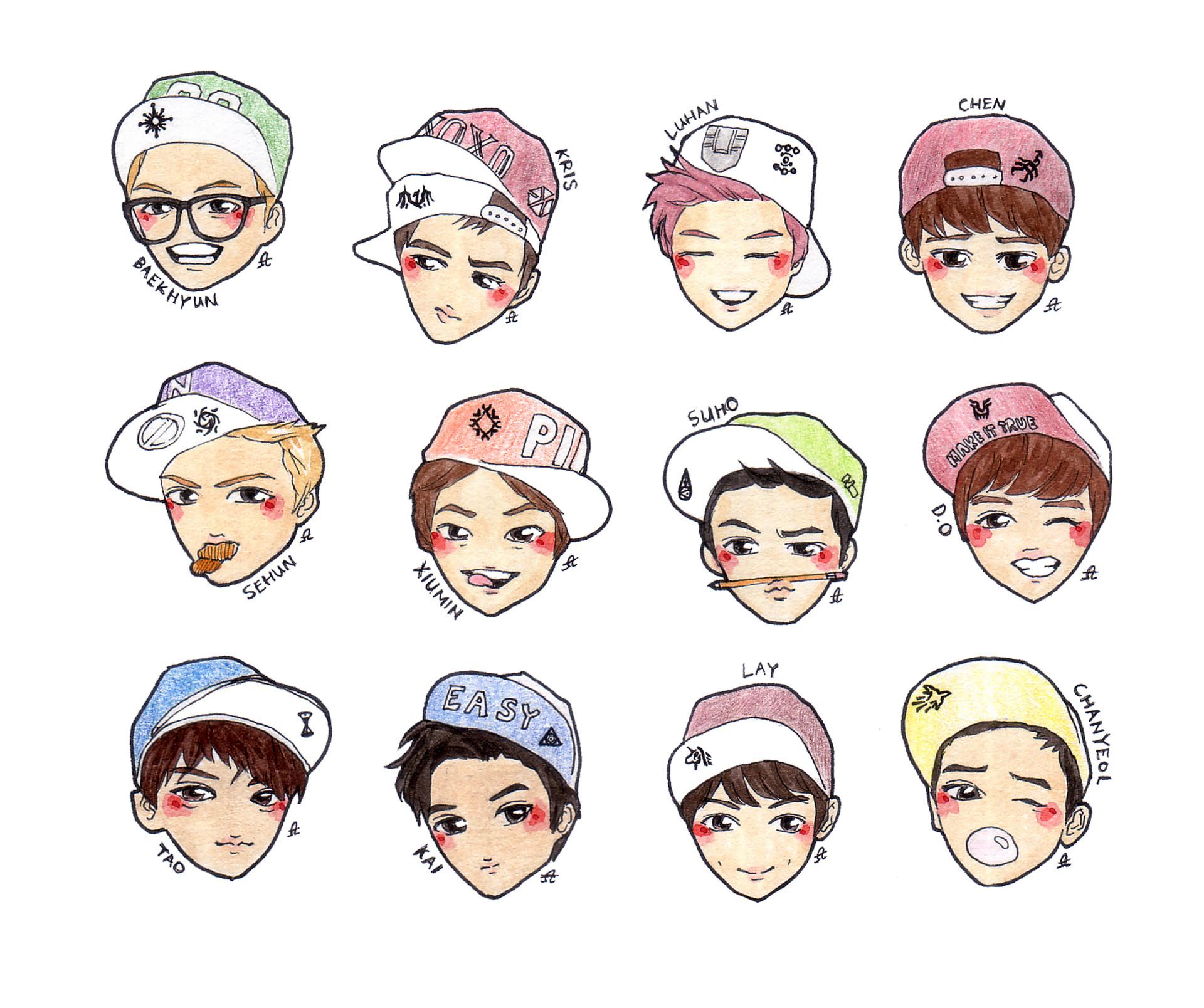 Anime Logo Wallpaper Yun Ha Seo Exo Chibi Faces