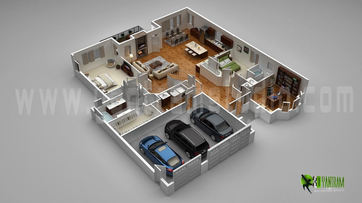 Home 3d Artstation Modern Home 3d Floor Plan With Parking Slot Chicago