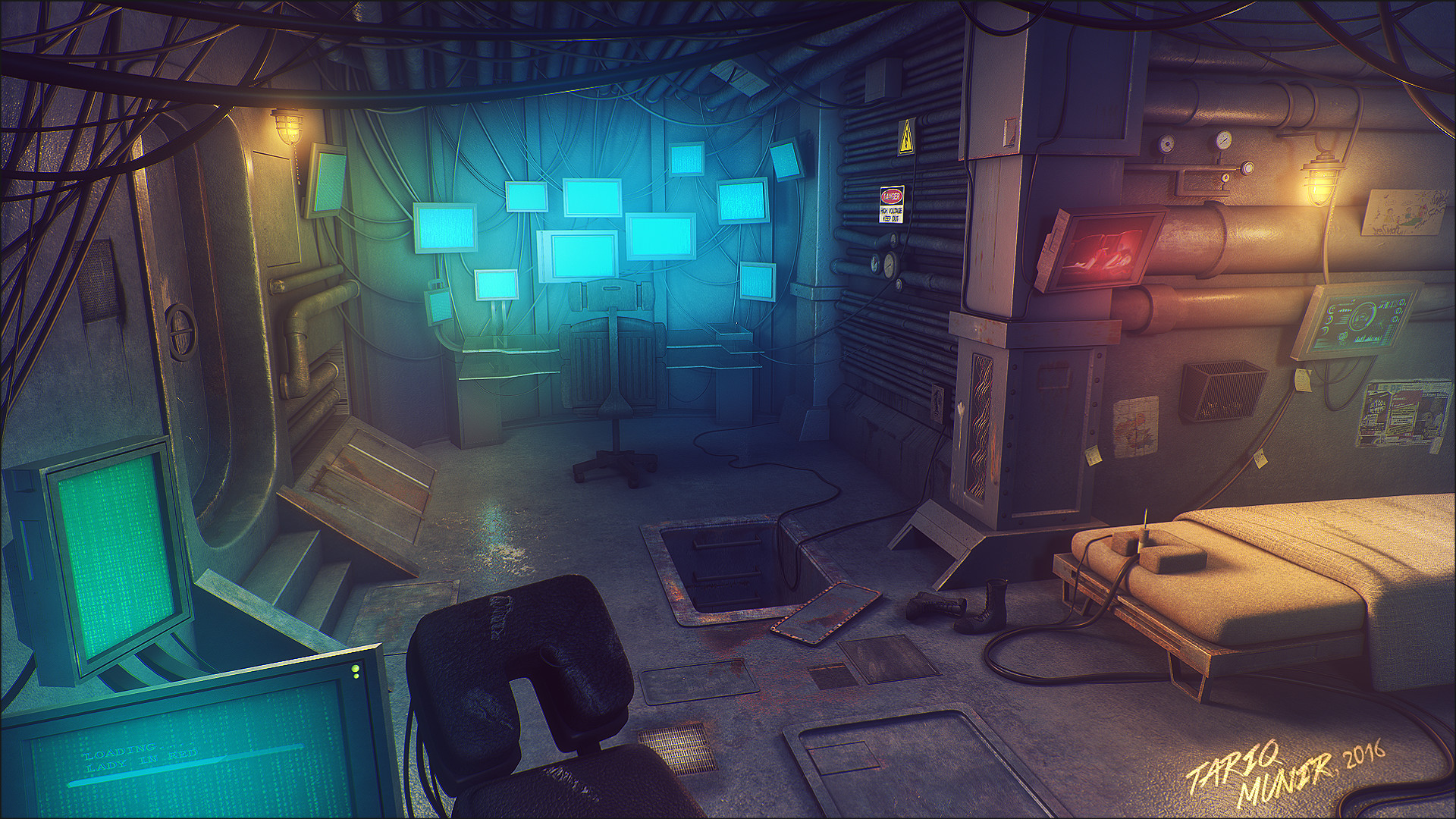 3d Animated Horror Wallpaper Artstation Cyberpunk Room Tariq Munir