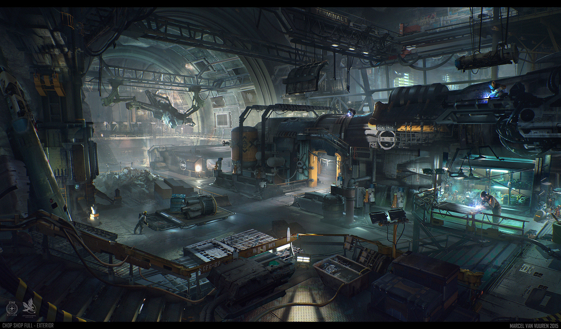 Levski 3d Wallpaper Artstation Star Citizen Chop Shop Environment Marcel