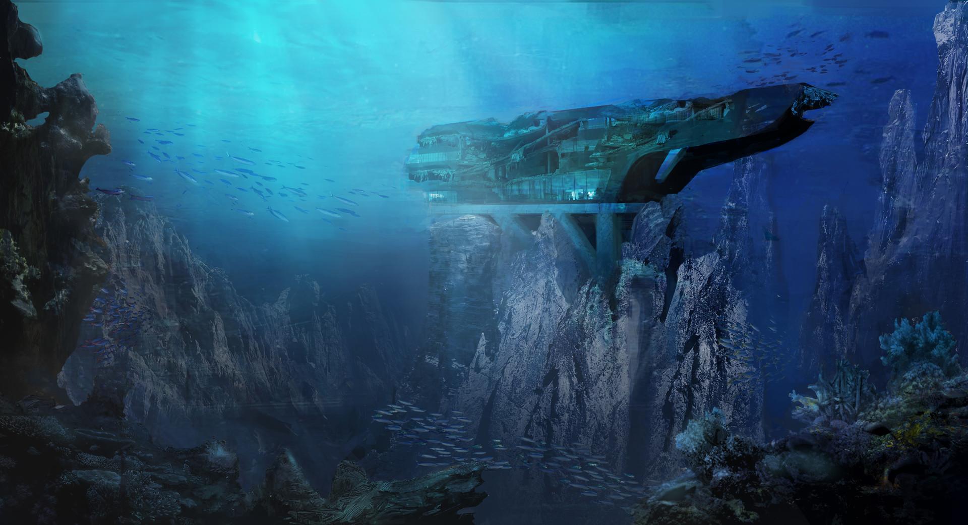 3d Wallpaper Under The Sea Artstation Concept Design Underwater Research Facility