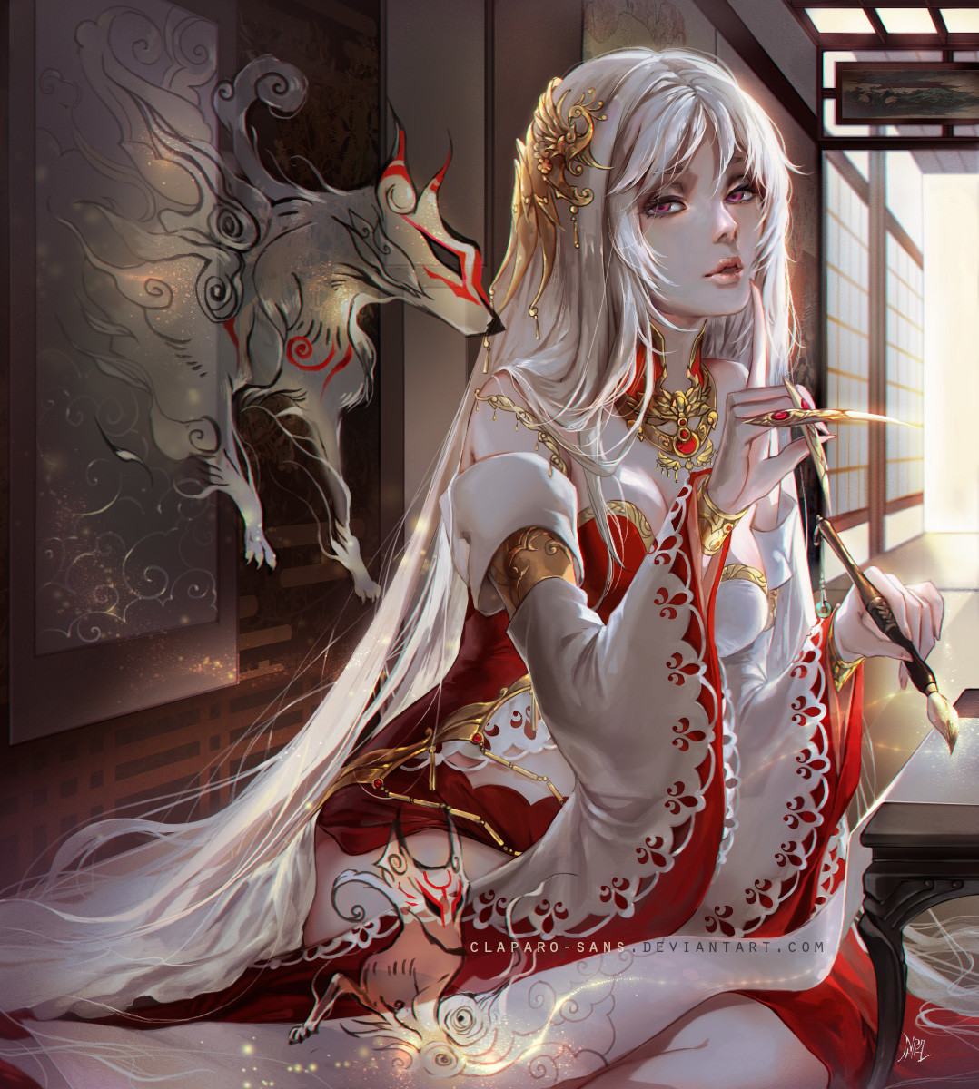 Kitsune Girl Hd Wallpaper Artstation Amaterasu Okami Benihime Phong Anh