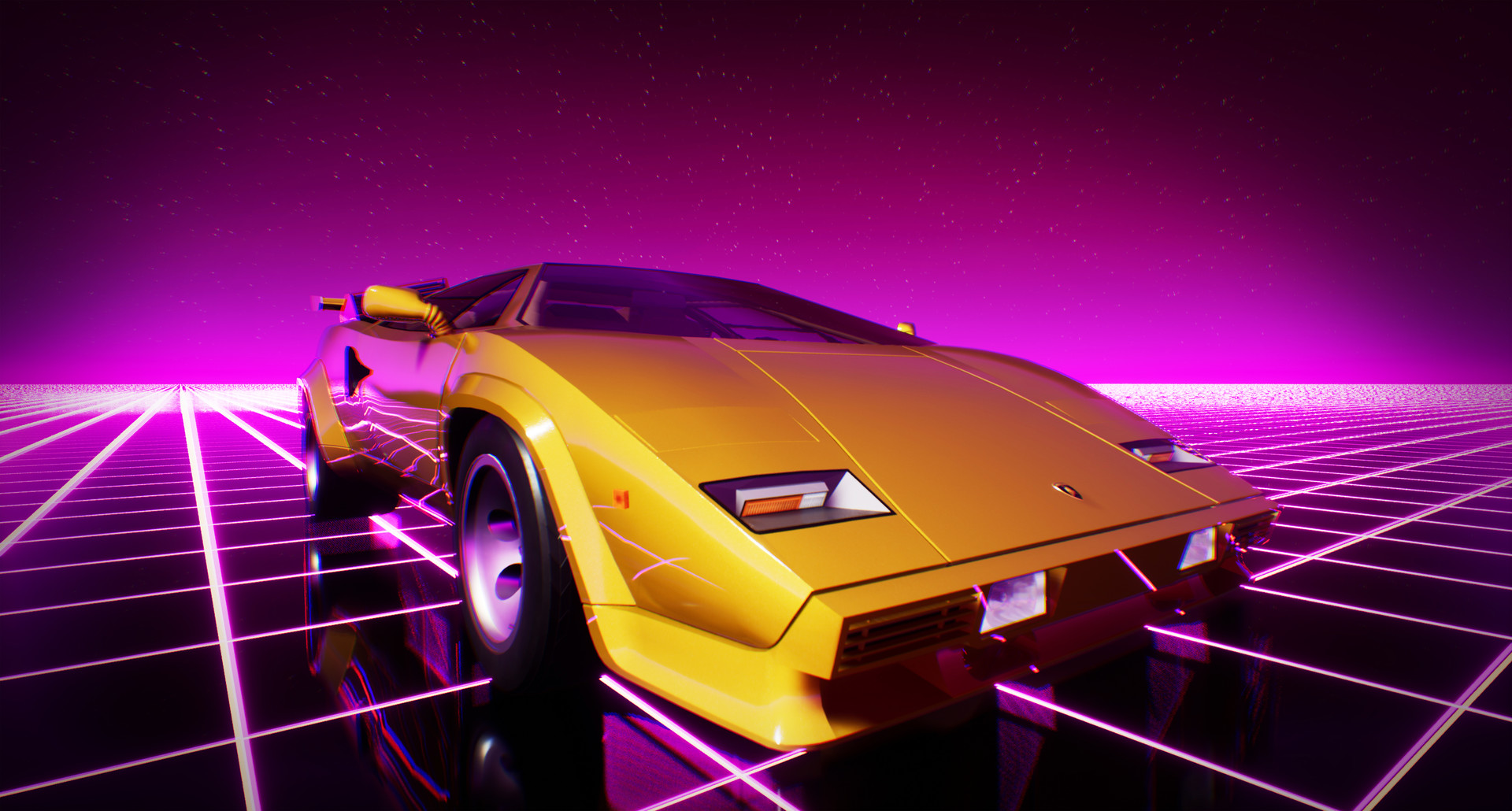 Awesome Cool Car Wallpapers Artstation Lamborghini Countach Ue4 Synthwave