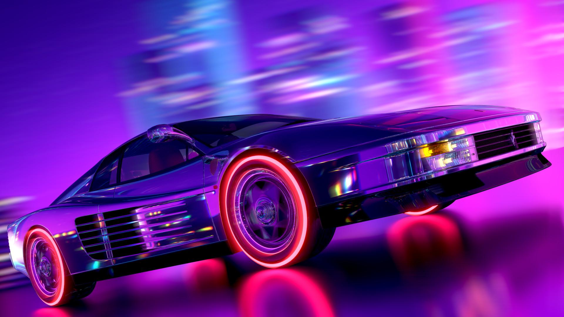 Mustang Car Wallpaper Desktop Arslan Safiullin Ferrari Testarossa Retrowave Style