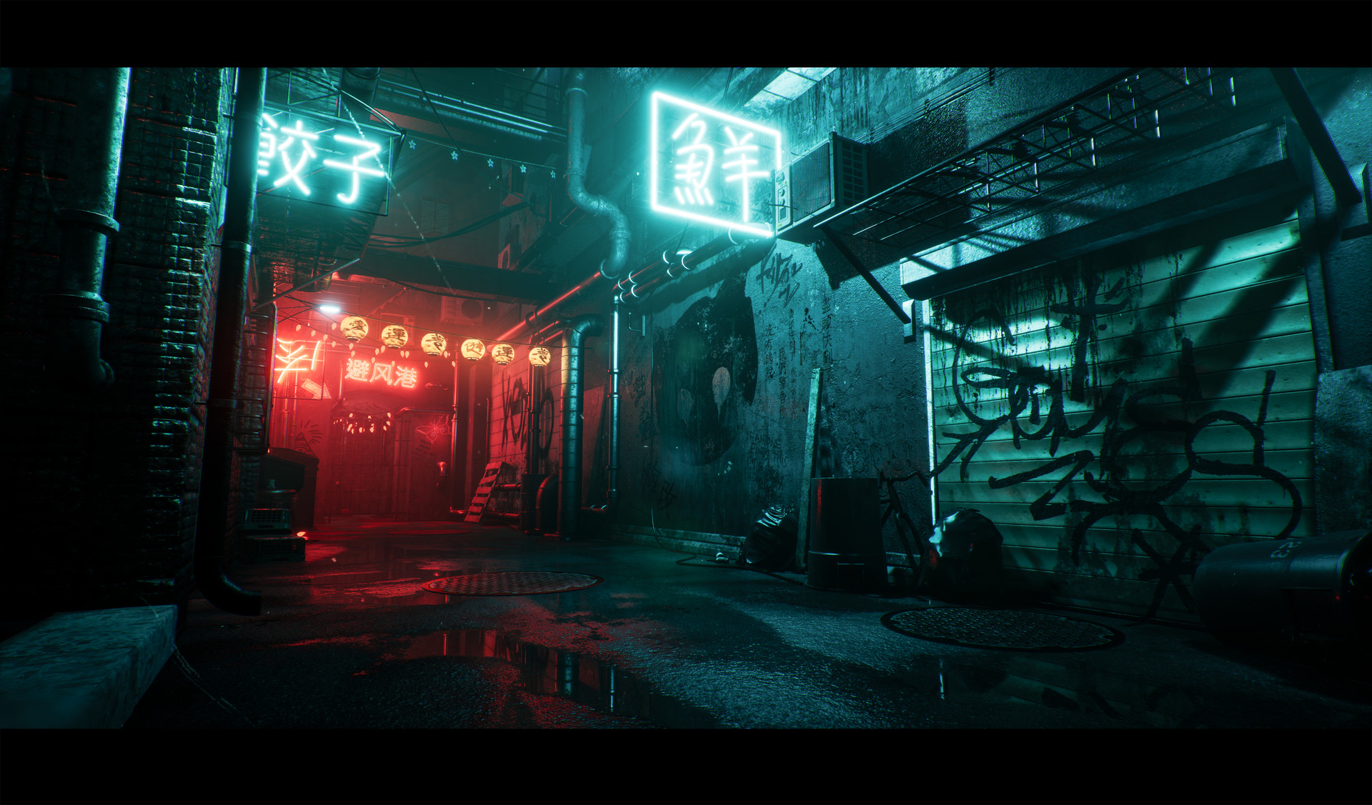 Asian Artwork Artstation - An Asian Back Alley (unreal 4), Oskar Woinski
