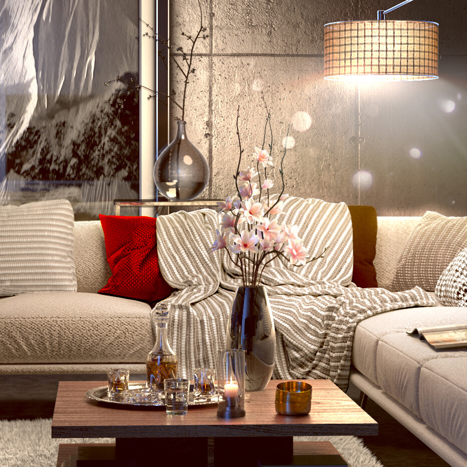 Zeine Moualla Living Room Modern Night Time Close Up