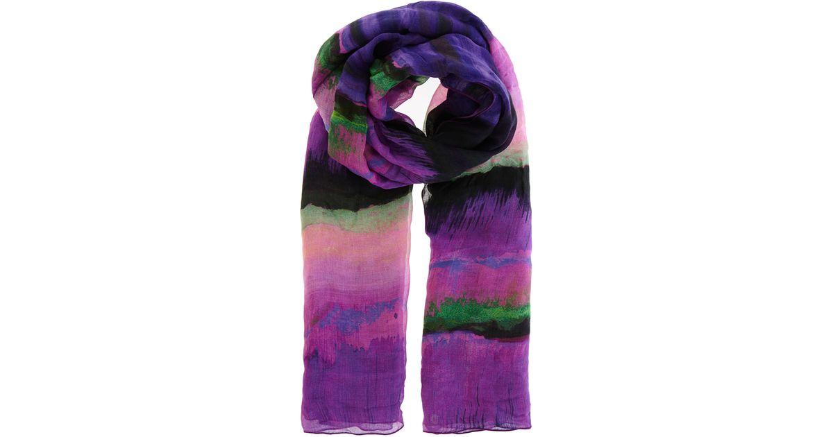 Karen Millen Painterly Stripe Print Scarf In Purple Lyst
