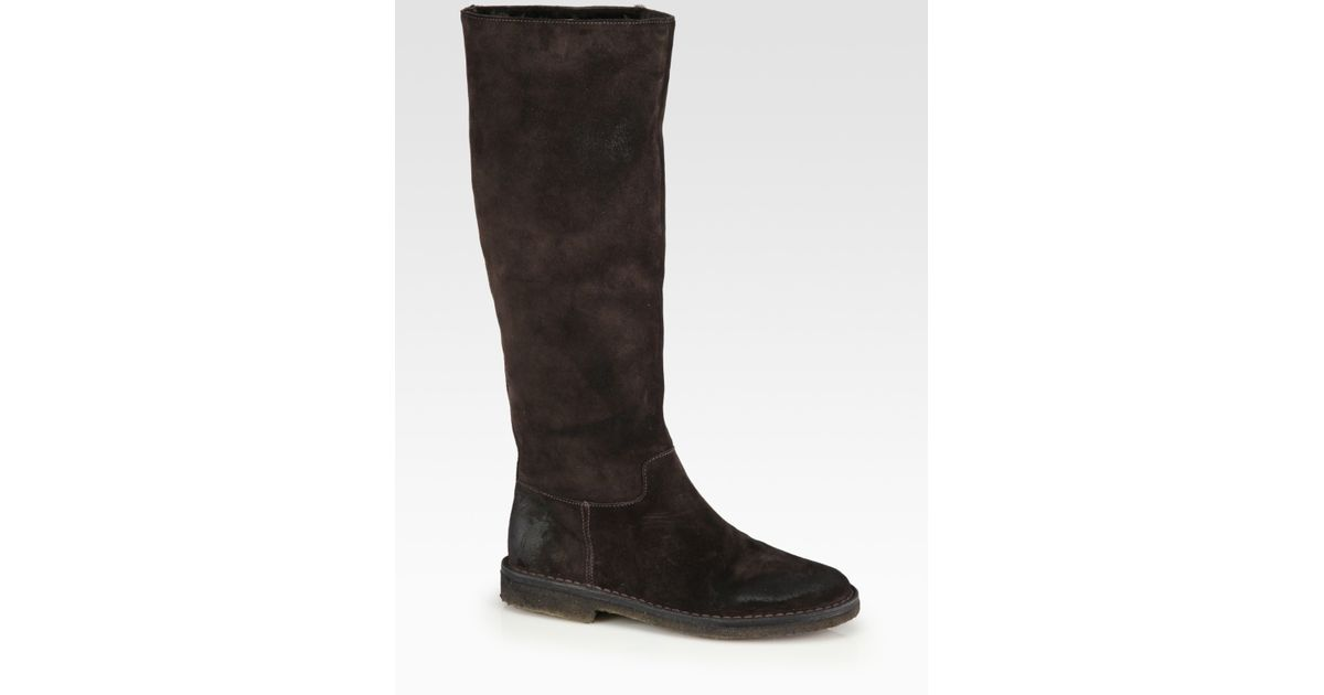 Lyst Vince Connor Suede Tall Boots In Brown