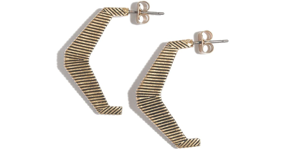 Lyst Madewell Etched Angle Earrings In Metallic