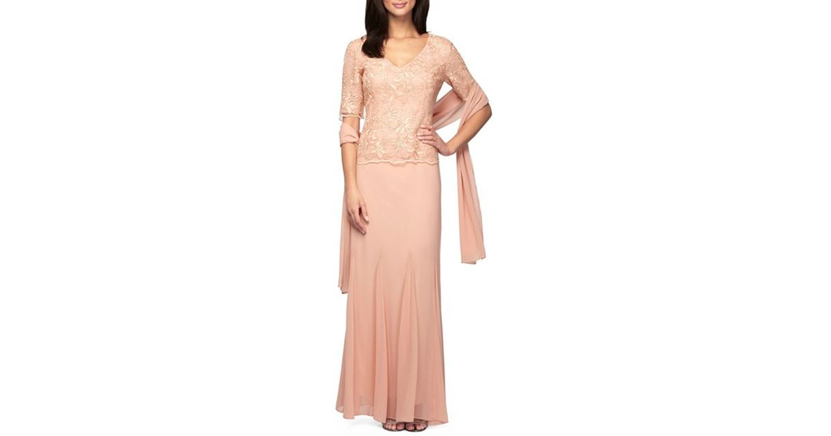 Lyst Alex Evenings Embroidered Chiffon Gown With Shawl