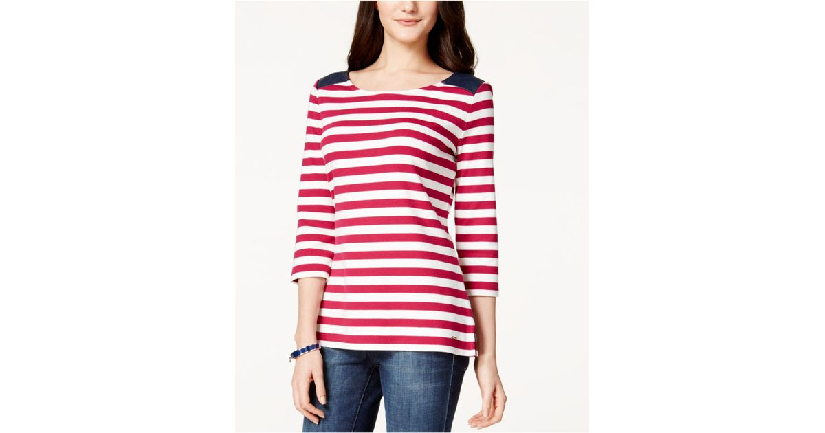 Lyst Tommy Hilfiger Faux Leather Shoulder Striped Top In Red