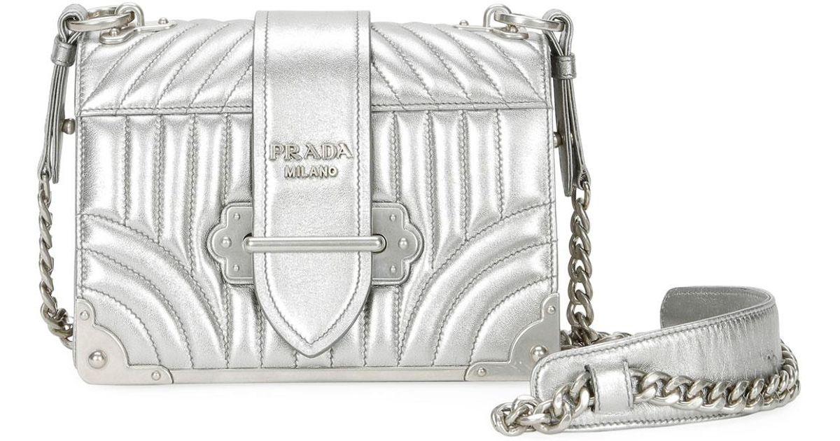 Lyst - Prada Small Diagramme Shoulder Bag W/ Chain Strap in Metallic