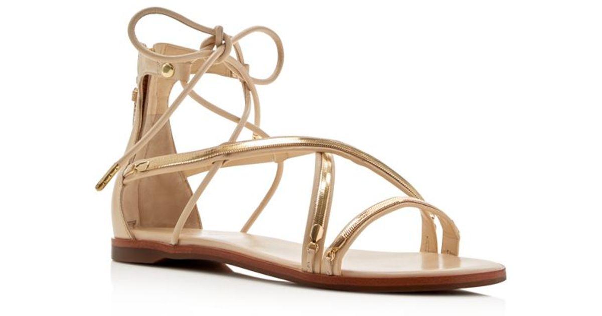 Lyst Rachel Zoe Babette Ankle Tie Flat Sandals In Natural