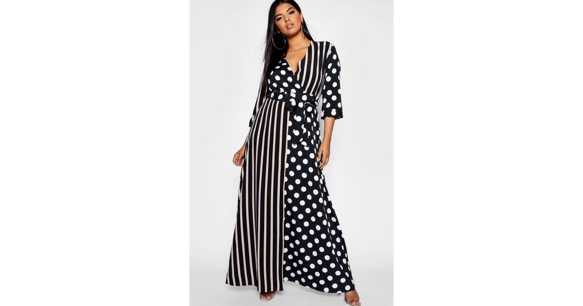 Lyst - Boohoo Plus Polka Dot + Stripe Maxi Shirt Dress in Black