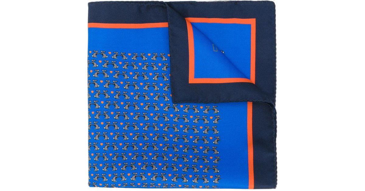Etro Rabbit Print Scarf In Blue For Men Lyst