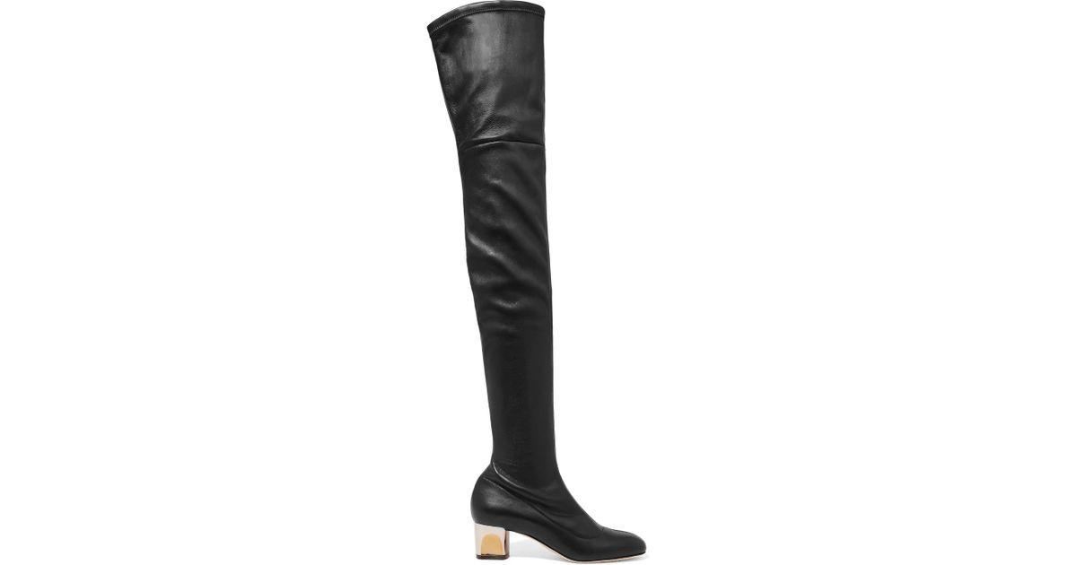 Alexander Mcqueen Stretch Leather Over The Knee Boots In