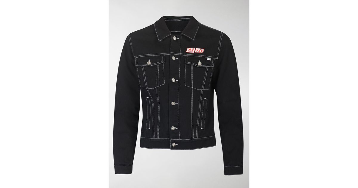 Lyst - Kenzo Denim Jacket With Stitching in Black for Men
