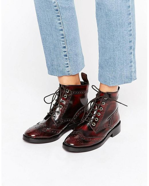Office Anagram Brogue Lace Up Leather Ankle Boots In Red