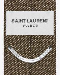 Saint laurent Skinny Tie In Black And Gold Lam in Black ...