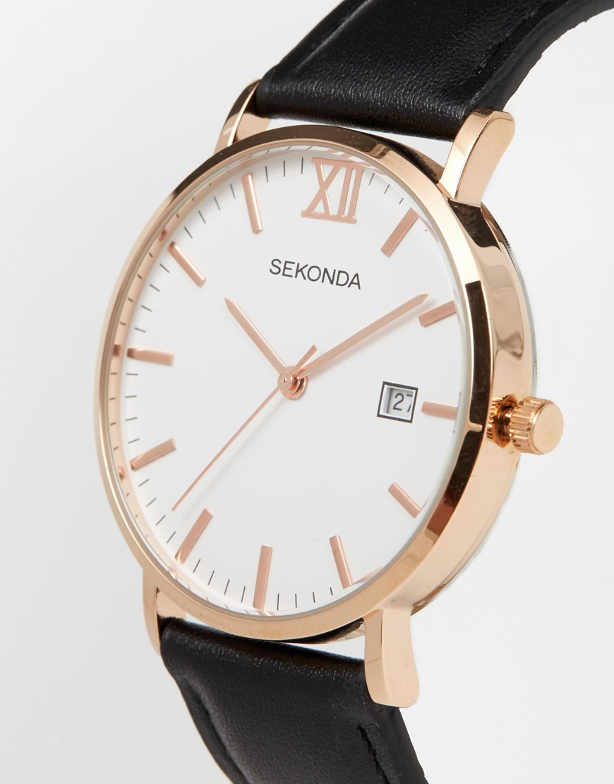 Leather Strap Rose Gold Watch Lyst Sekonda Rose Gold Detail Black Leather Strap Watch In