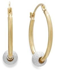 Macy's Beaded Hoop Earrings In 10k Gold And Sterling ...