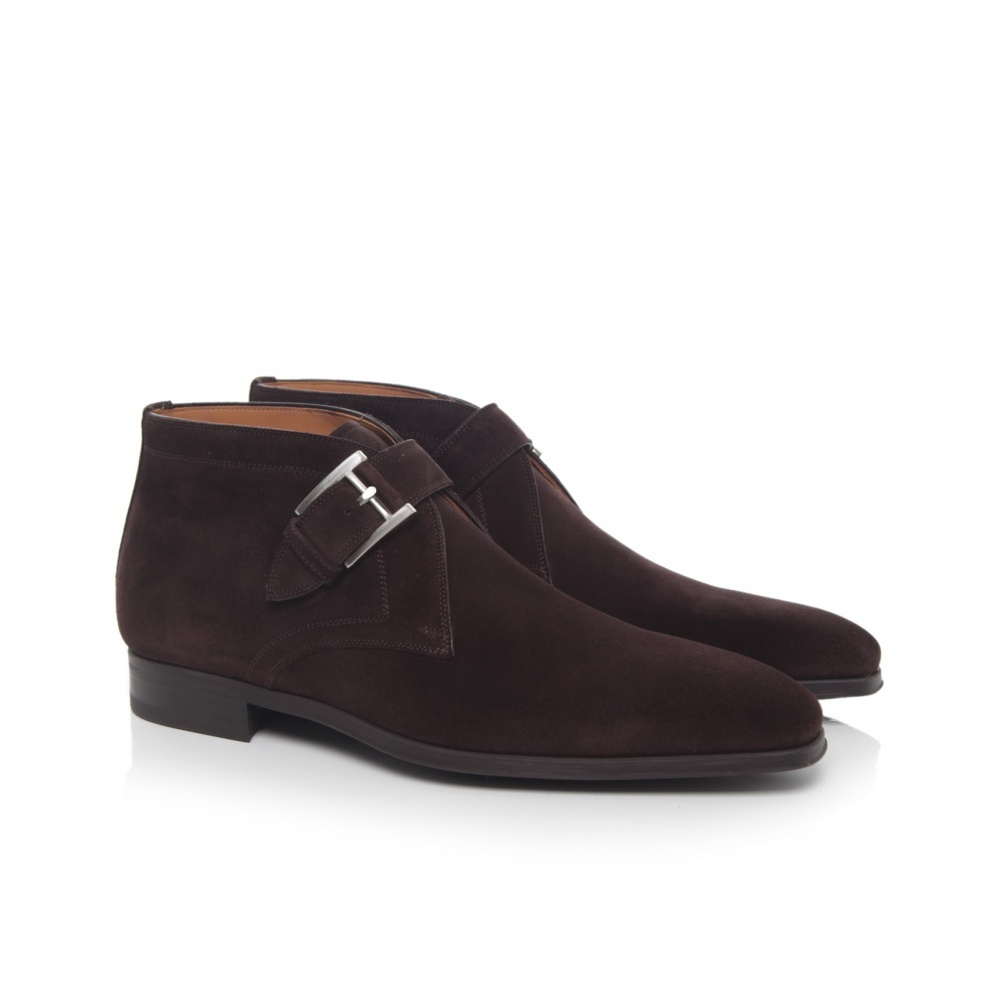 Lyst Magnanni Shoes Suede Monk Strap Boots In Brown For Men