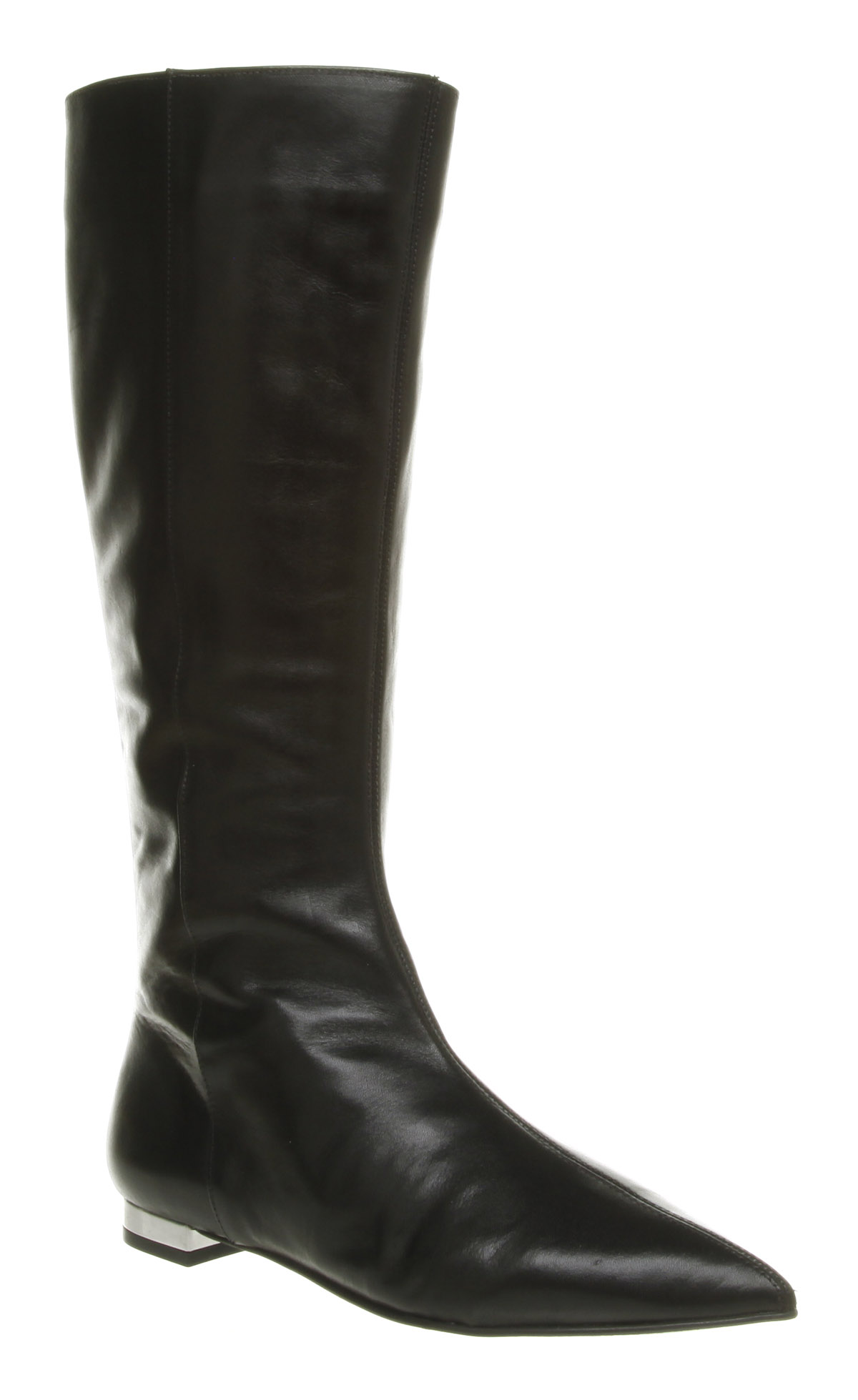Leather Booties Lyst - Office Jam Flat Pointy Boot Black Leather In Black