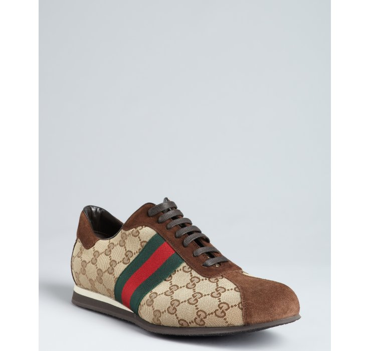 Forzieri Hogan Gucci Beige Gg Canvas Web Stripe Sneakers In Brown For Men