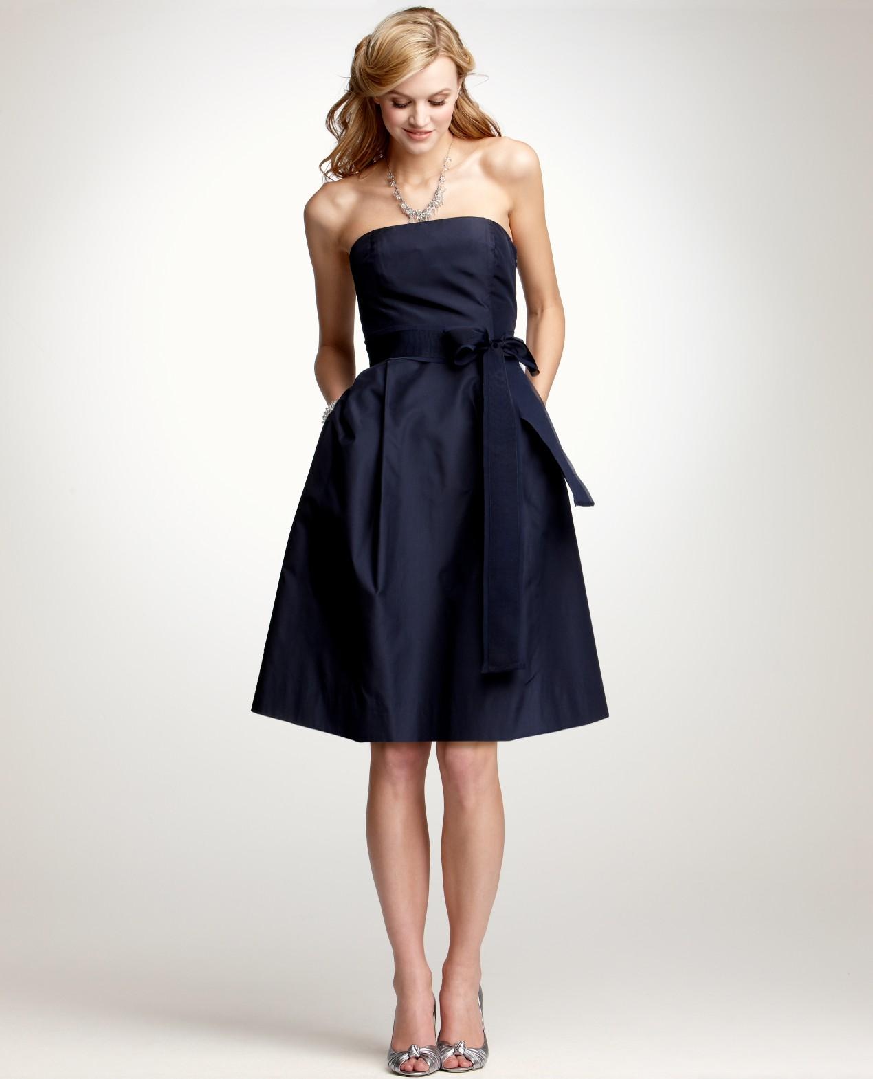 Ann Taylor Silk Taffeta Strapless Bridesmaid Dress in Blue