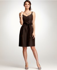 Ann taylor Silk Taffeta Vneck Bridesmaid Dress in Brown | Lyst