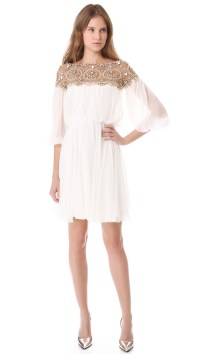 Lyst - Marchesa Long Sleeve Cocktail Dress in White