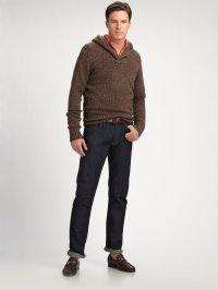 Polo ralph lauren Ragg Shawl Collar Sweater in Brown for ...