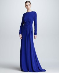 Lyst - Elie saab Long Sleeve Gathered Jersey Gown in Blue