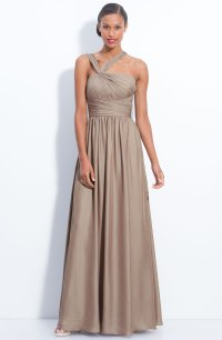 Lyst - Ml monique lhuillier Twist Shoulder Chiffon Gown ...