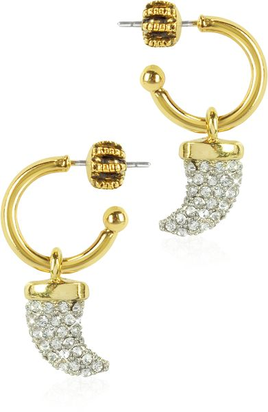 Juicy Couture Pave Horn Mini Hoop Earrings in Gold   Lyst