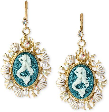 Betsey Johnson Antique Goldtone Mermaid Medallion Drop