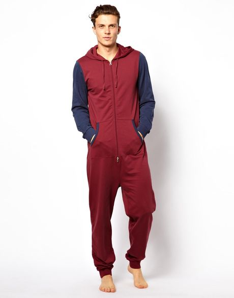 Under Armour Camo Hoodie Mens Markus Lupfer Asos Onesie With Contrast Sleeeves In Red