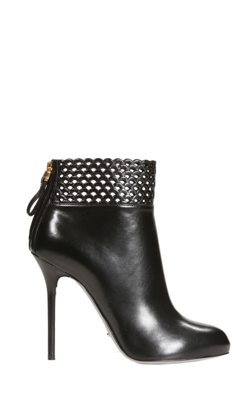 Sergio Rossi Shoes Macramade Ankle Boots Leather Ajour In