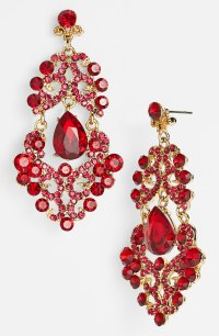 Tasha Ornate Chandelier Earrings in Red (Red Multi ...