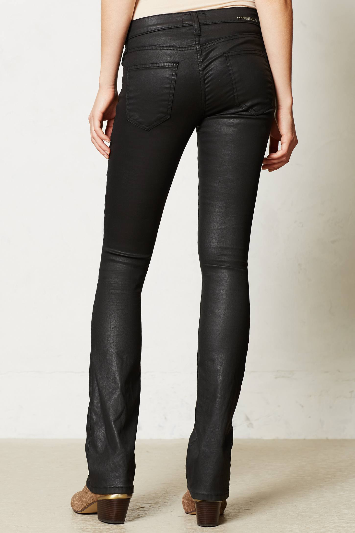 Lyst Current Elliott Coated Slim Bootcut Jeans In Black