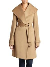 Saks Fifth Avenue Black Wool Tiewaist Shawl Collar Coat in ...